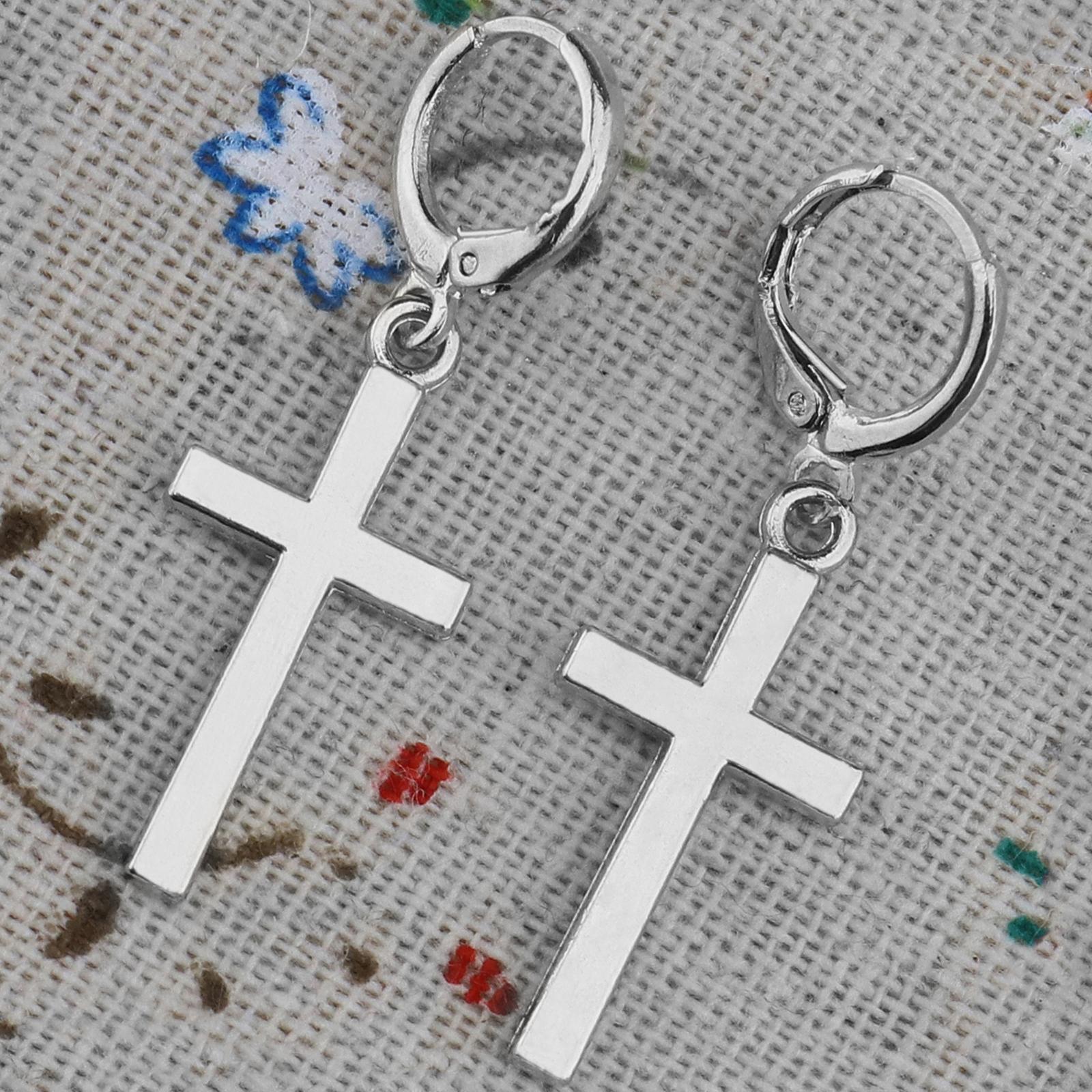 71c54cb8598c3c Men's Women's Stainless Steel Cross Drop Dangle Huggie Hinged Hoop Earrings  Gift