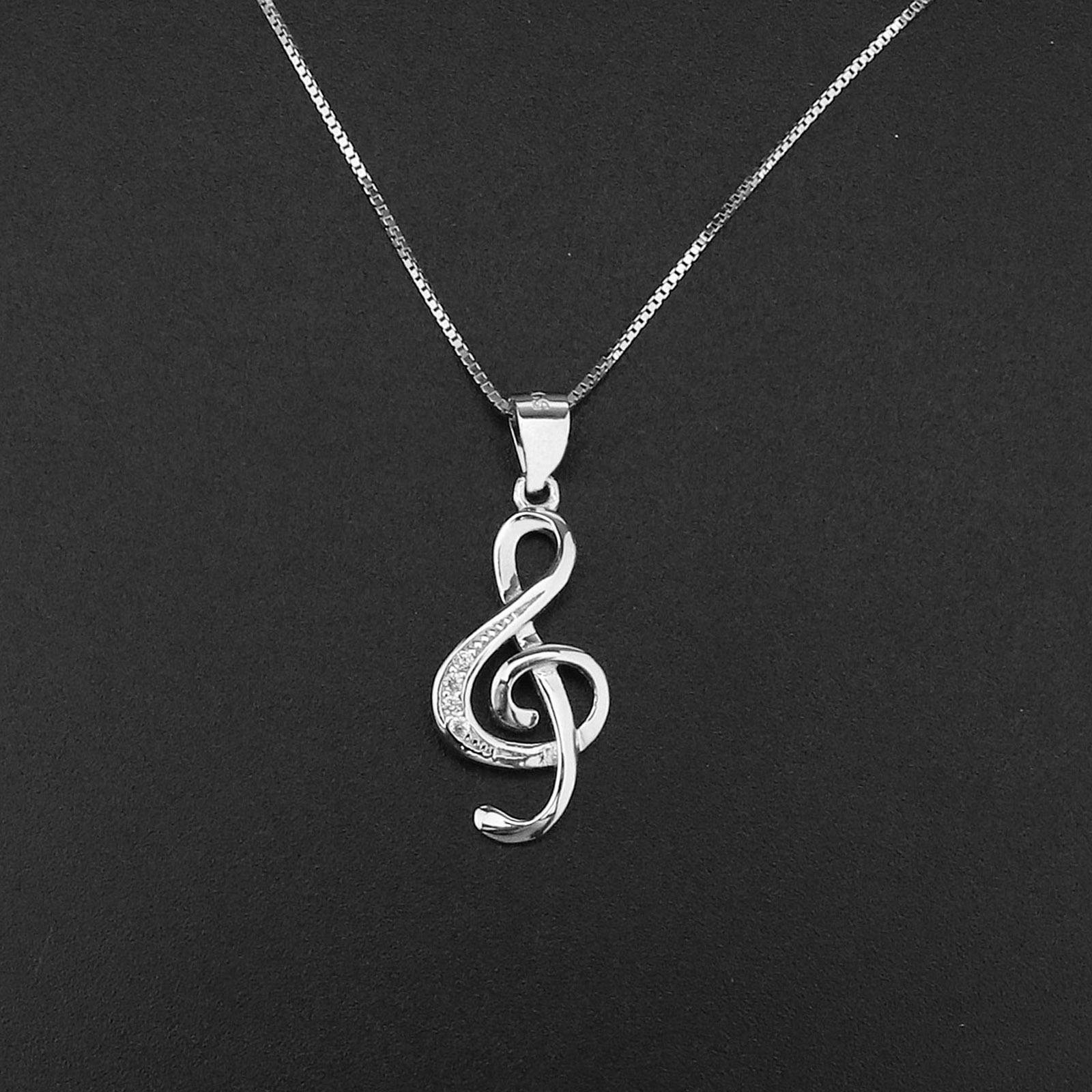 3efe939a7bc37c Image is loading 925-Sterling-Silver-Music-Note-CZ-Pendant-Necklace-