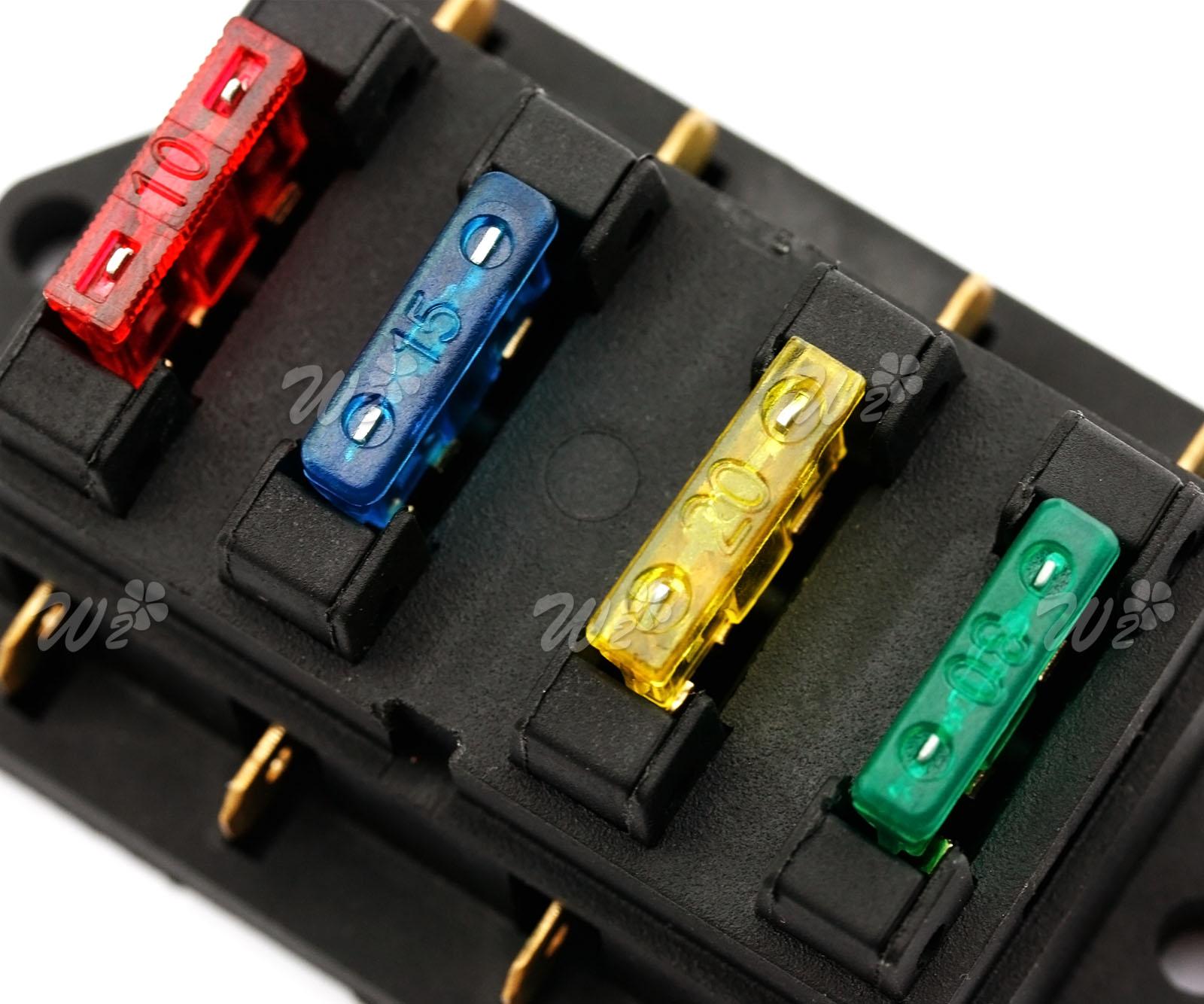 12v  24v Universal 4 Way Circuit Standard Ato Blade Terminal Fuse Holder Box