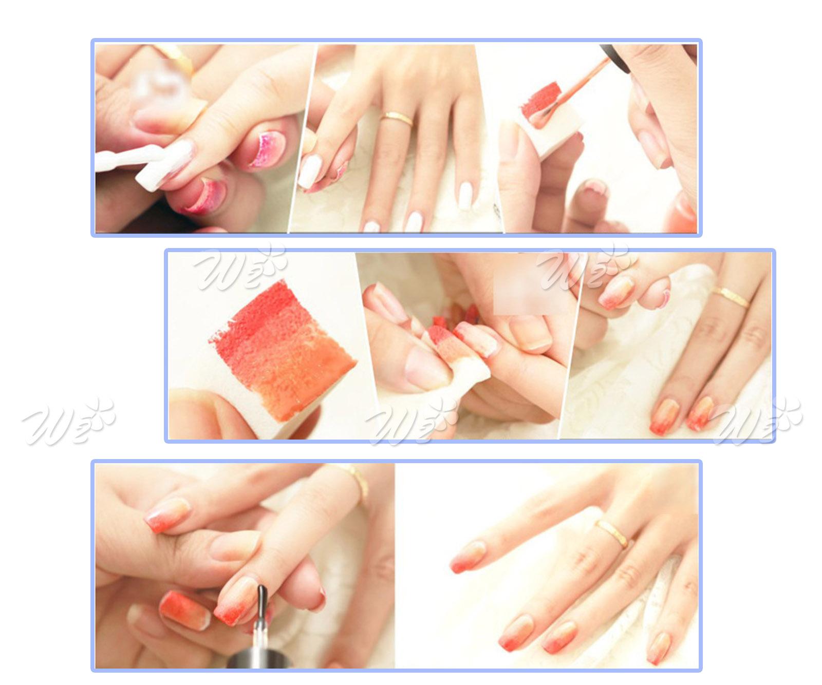 8pcs Nail Art Gradient Sponge Varnish Designs Stamp Polish Template