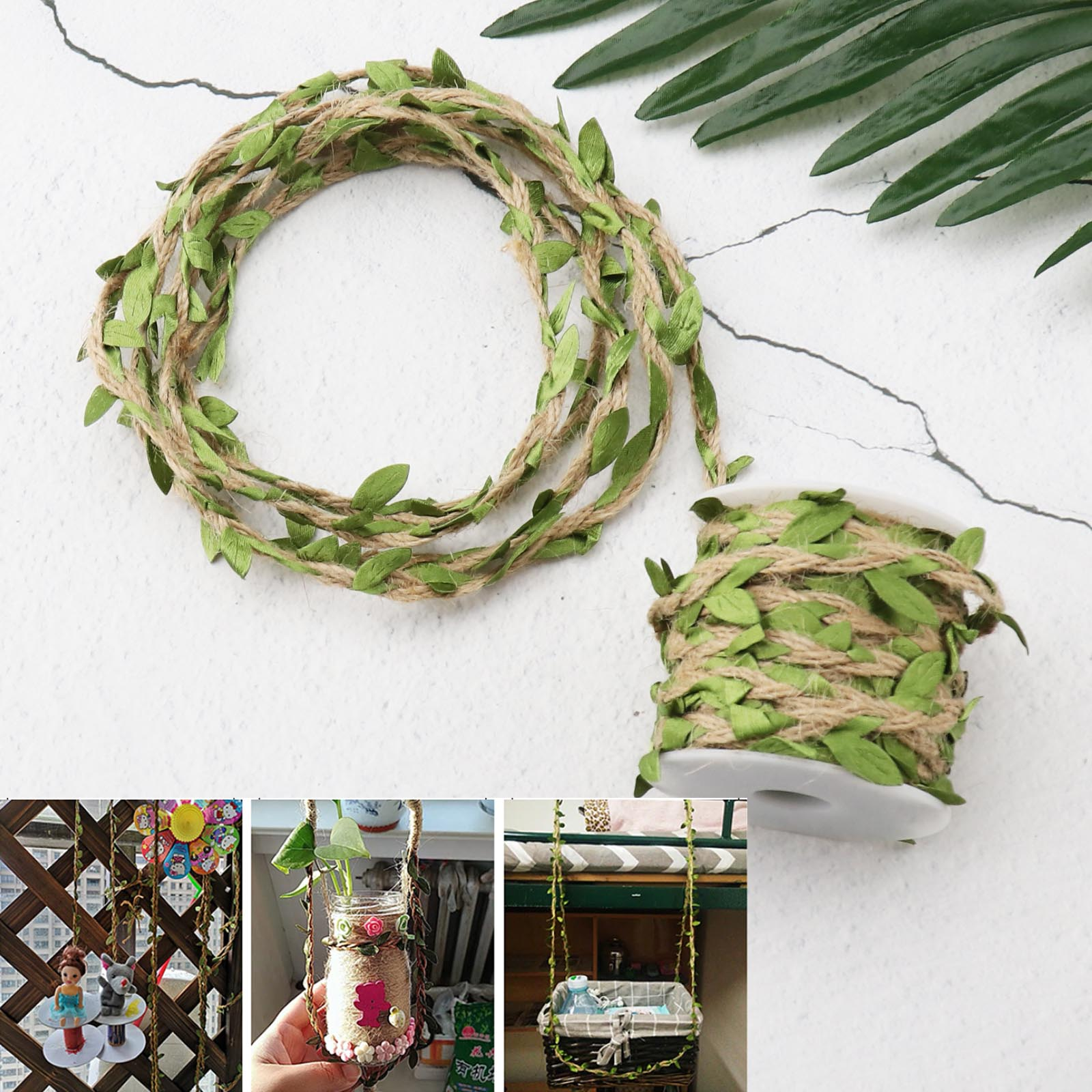 10m Leaves Vine Burlap Rope Ribbon Trim String for Wedding Party Home Decor
