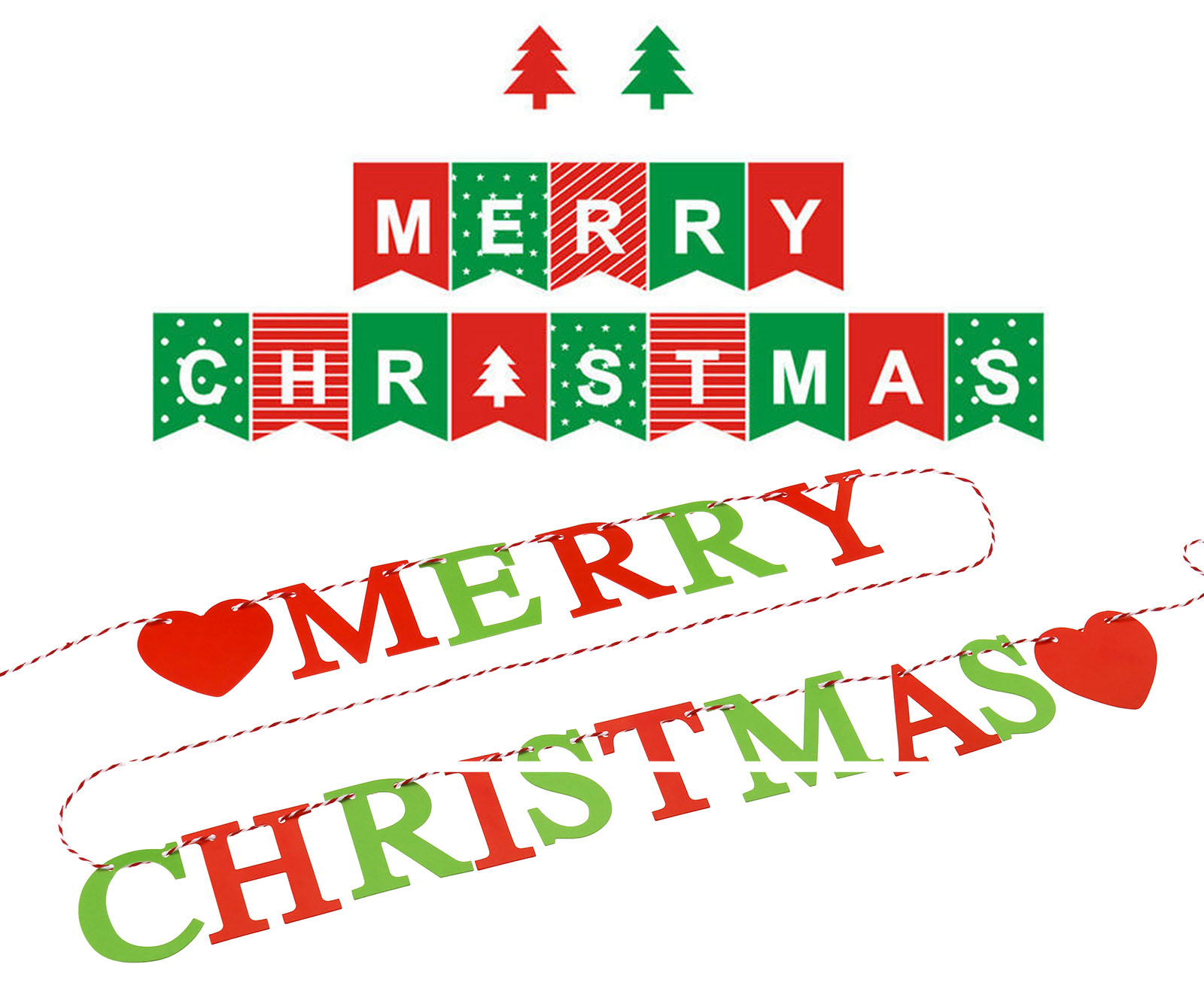 merry christmas garland xmas sign red hearts bunting banner home decoration