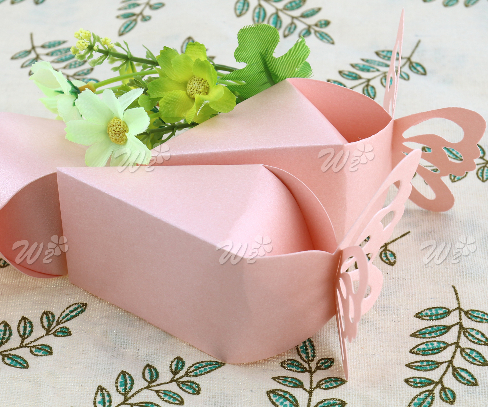 50 x Pink Butterfly Favor Gift Candy Boxes Bomboniere Wedding Baby ...