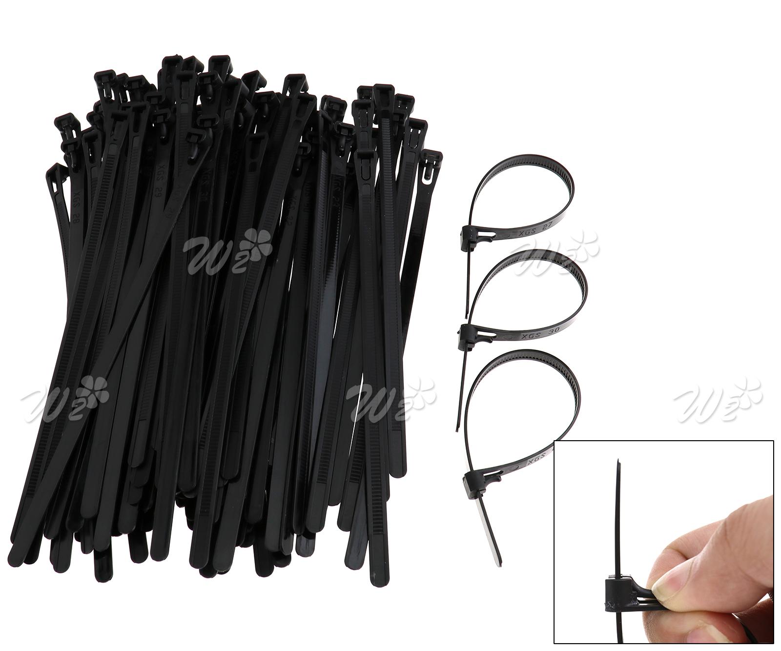 100x lösbare Kabelbinder Sortiment Schwarz kabel band Nylon 66 ...