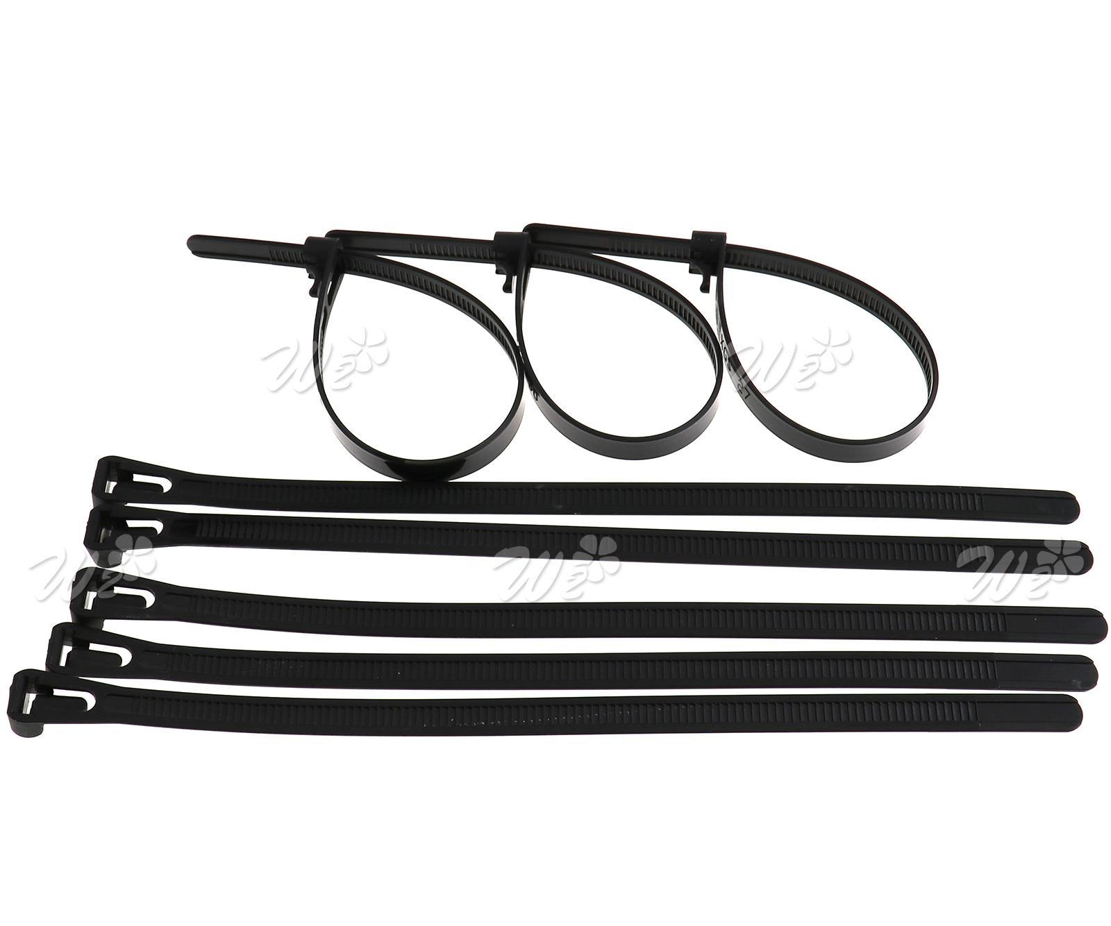 100x 8 X200 mm lösbare Kabelbinder Sortiment Schwarz kabel band ...