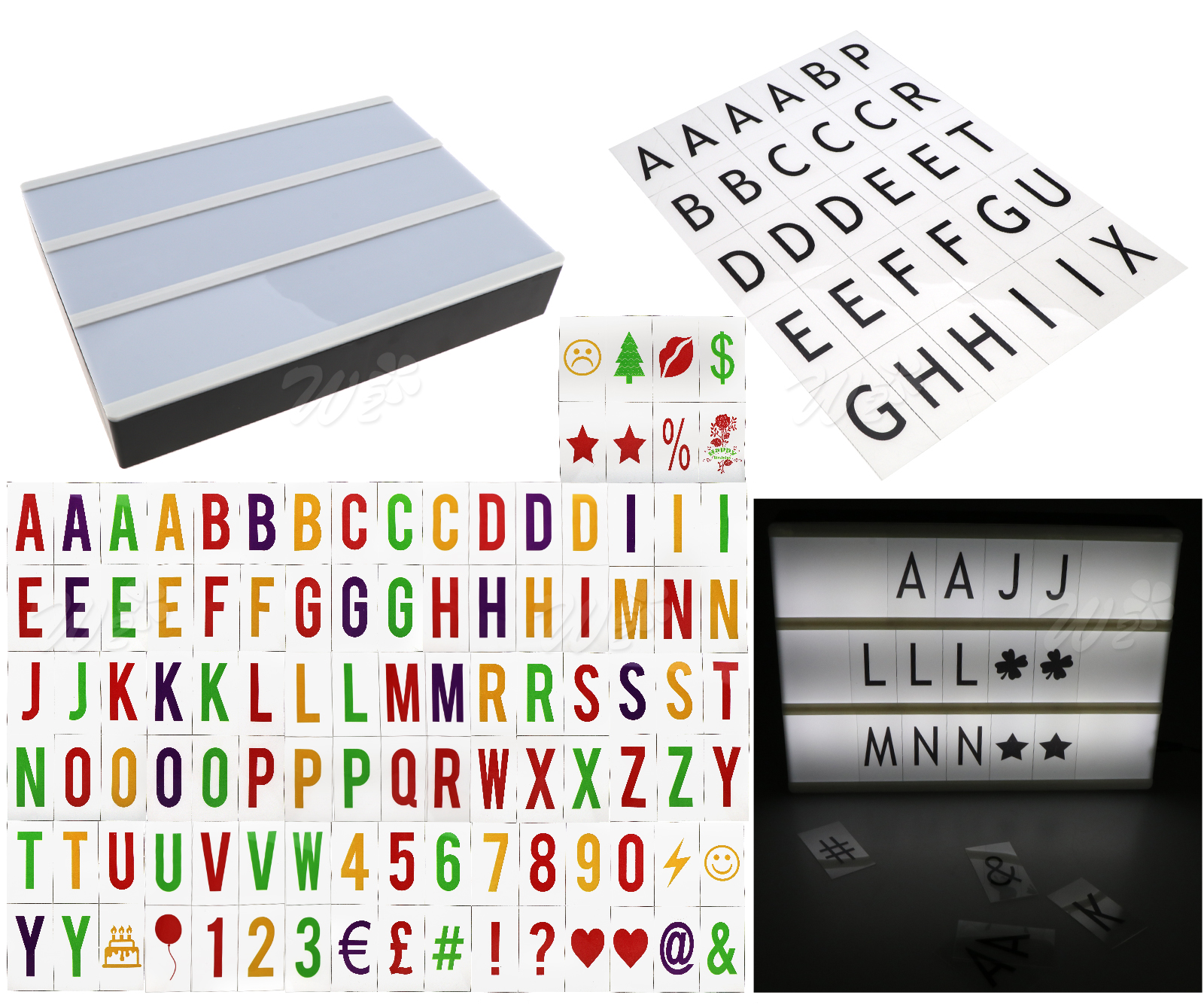 A4 30cm Cinematic Light Up Box with Letters /& Numbers Shop Wedding Party House
