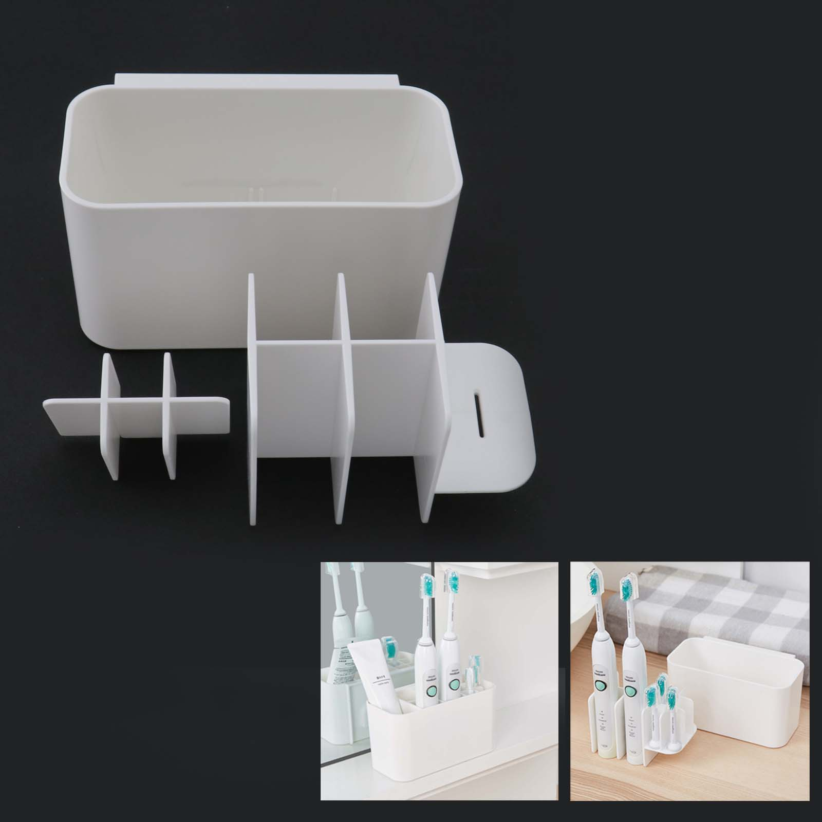 Metal Toothbrush Holder Bathroom Stand Wall Mount Toothpaste Container Durable