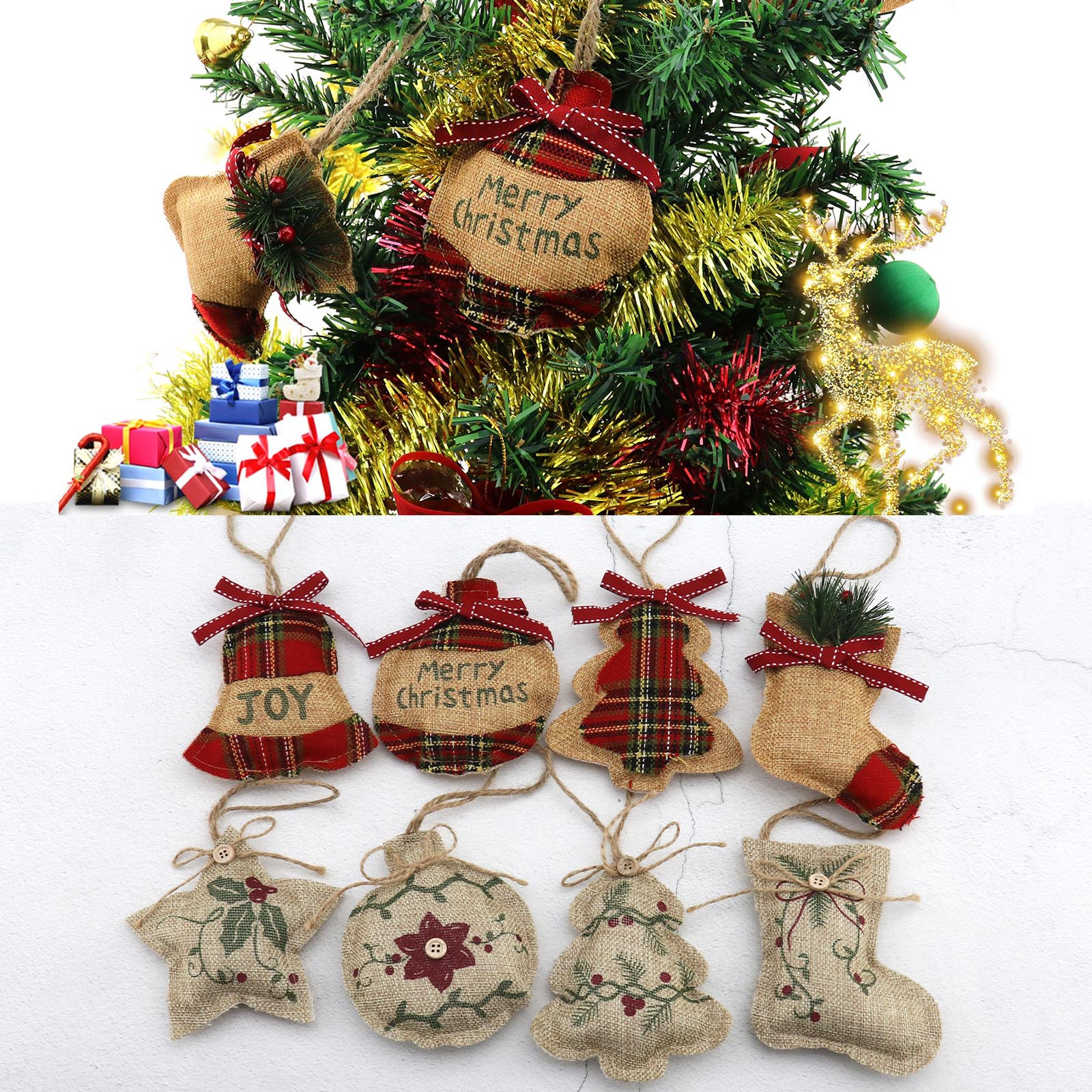 Rustic Christmas Tree Ornaments Stocking Decorations Burlap Country Ball Bell Ebay