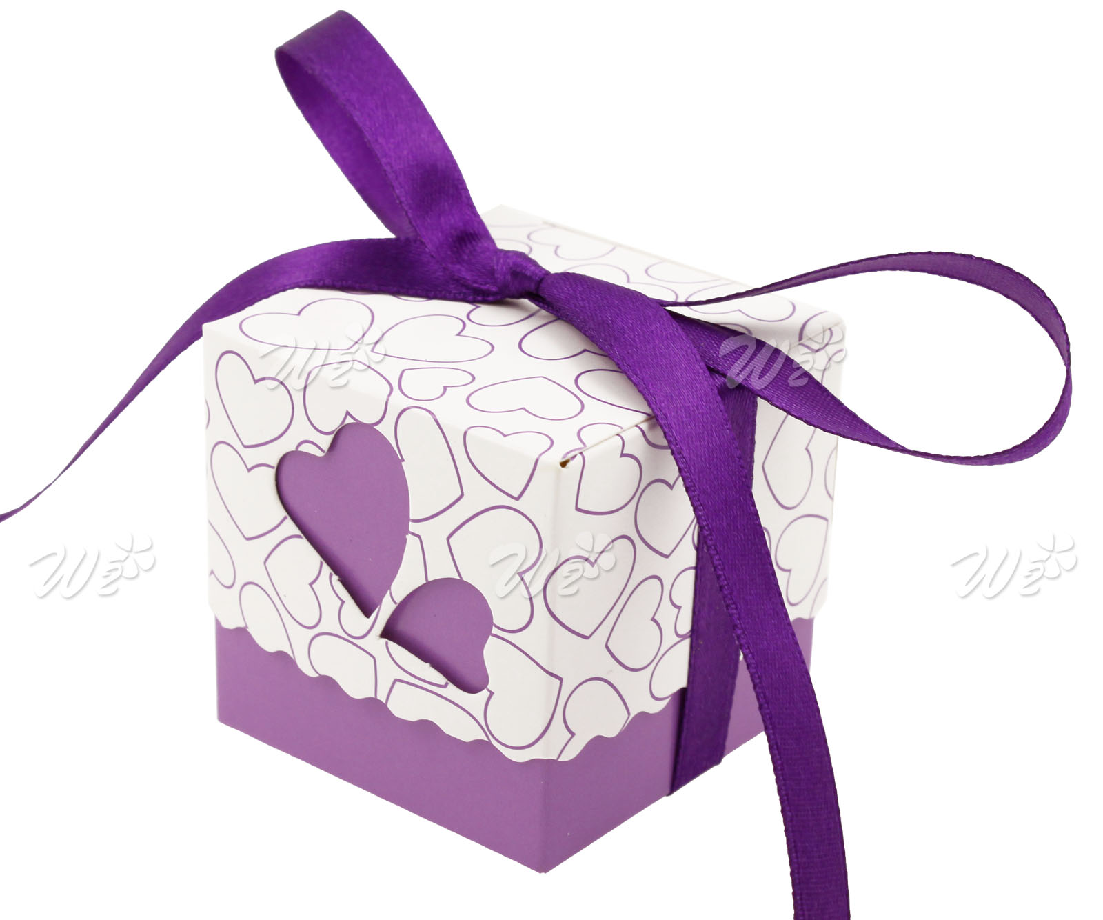 50 x Purple Wedding Party Gift Ribbons Favors Love Heart Design ...