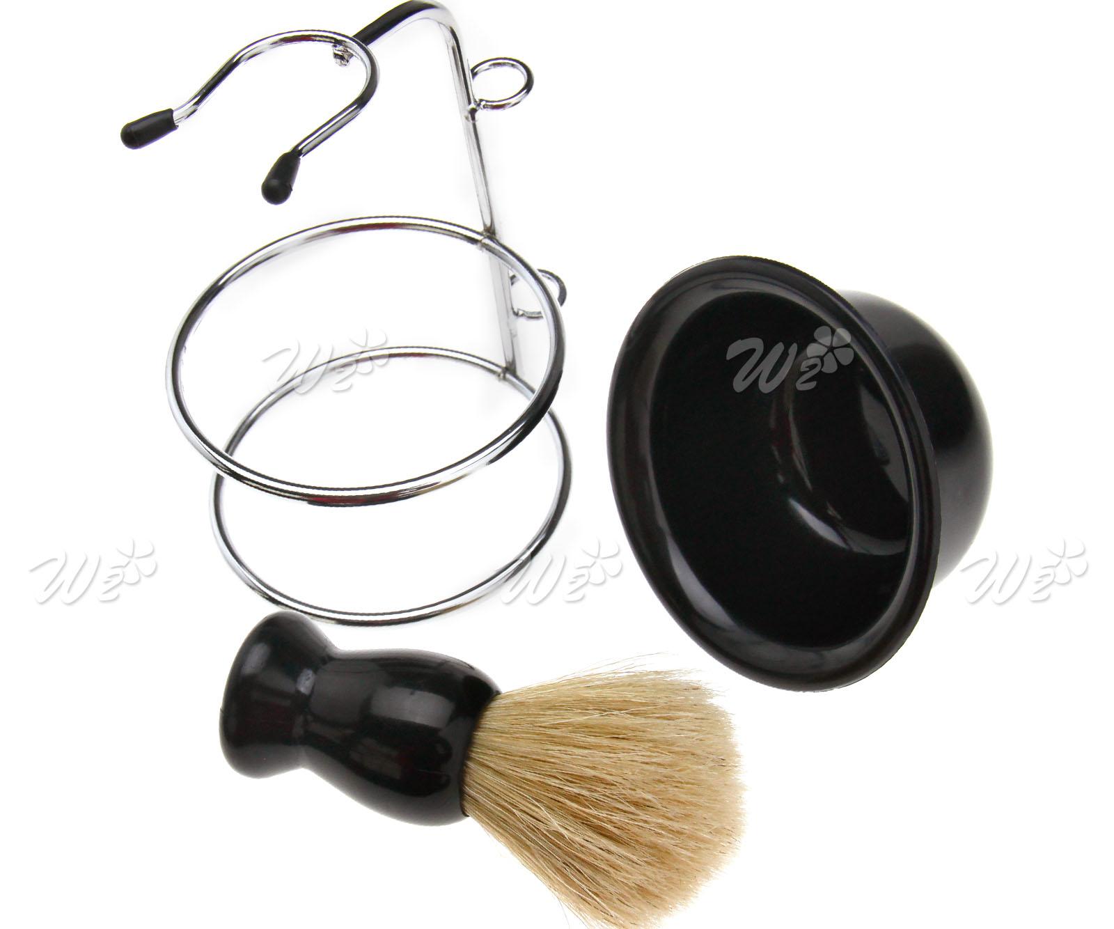 4 in 1 shaving razor beard clean kit brush soap bowl stand razor blades kit ebay. Black Bedroom Furniture Sets. Home Design Ideas