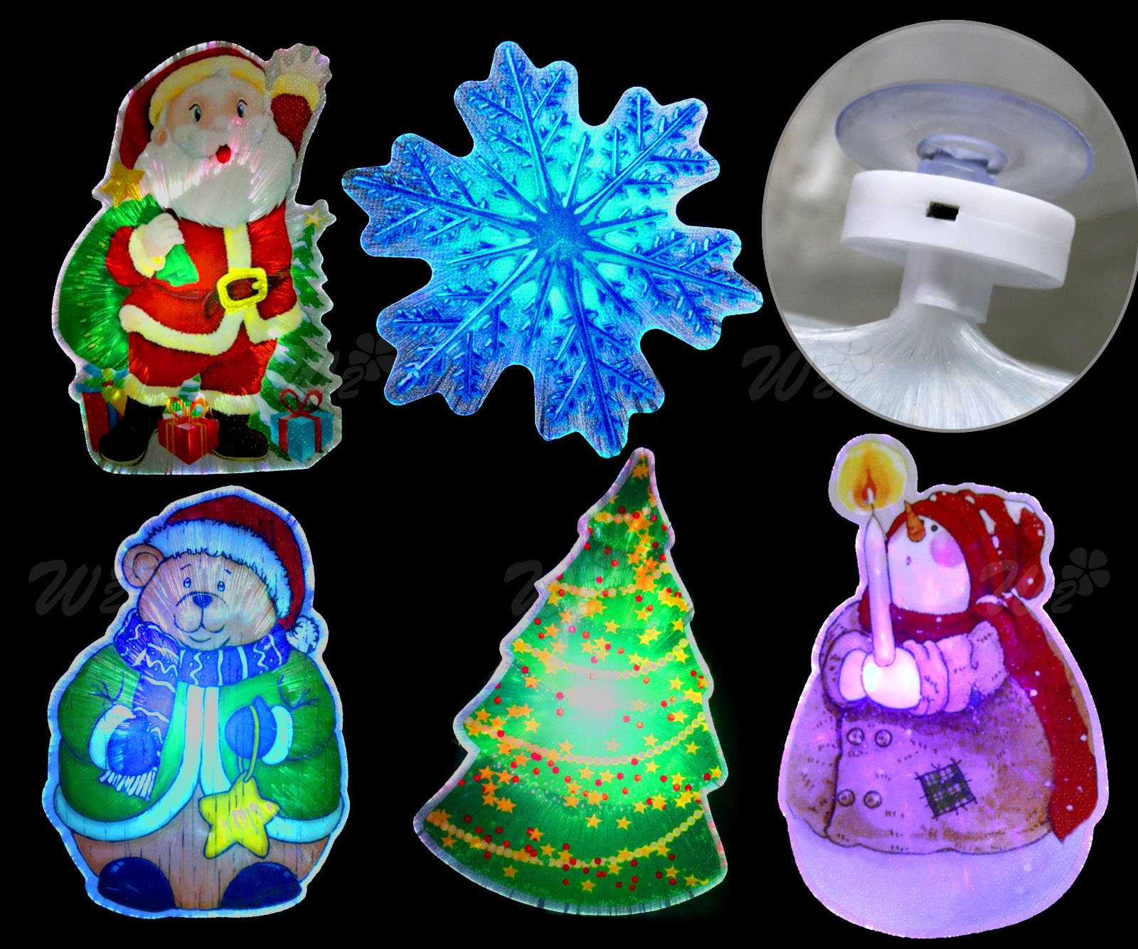 5 x christmas luminous led light up optical fibers scene wall home decoration