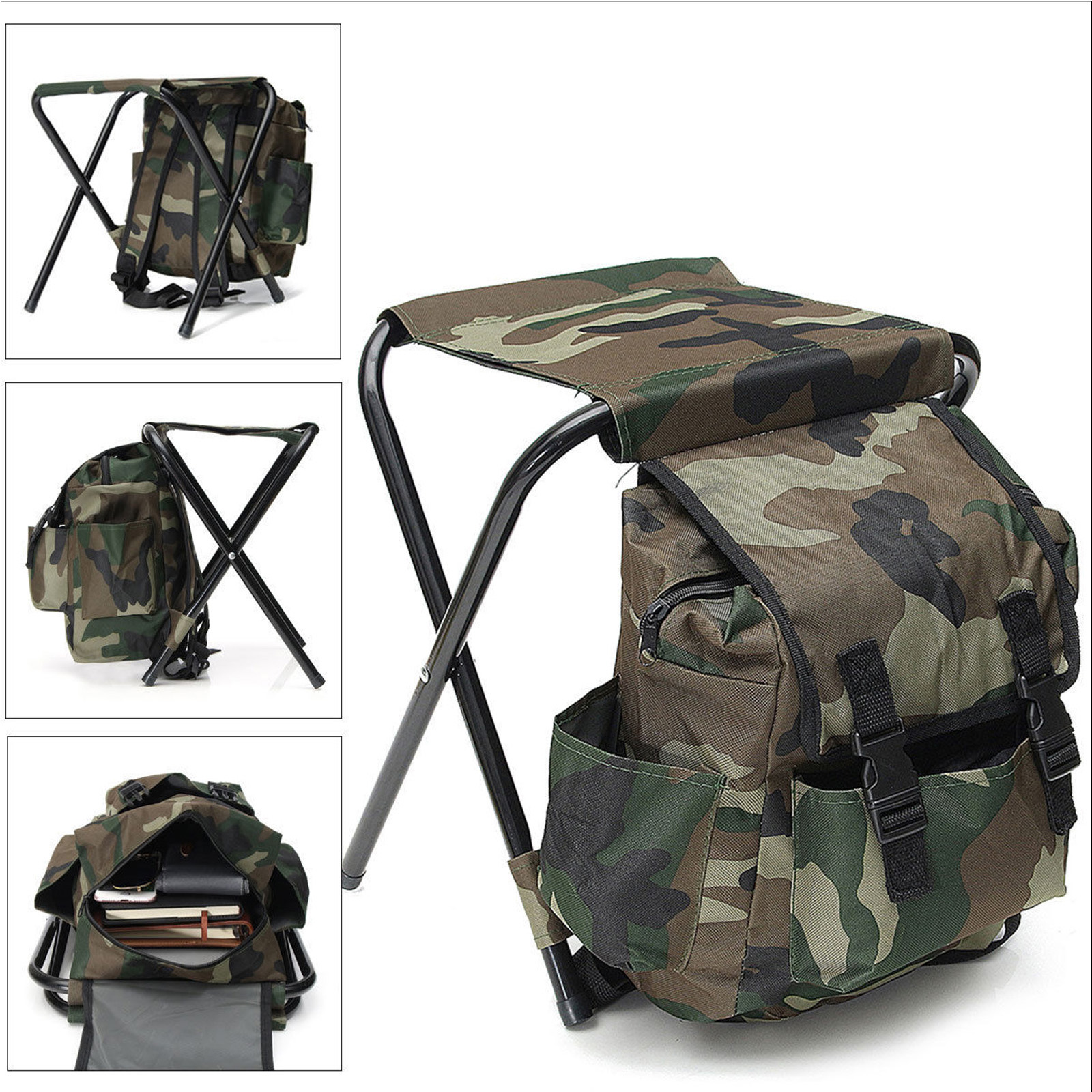 2in1 Folding Fishing Stool Backpack Seat Chair Hunting