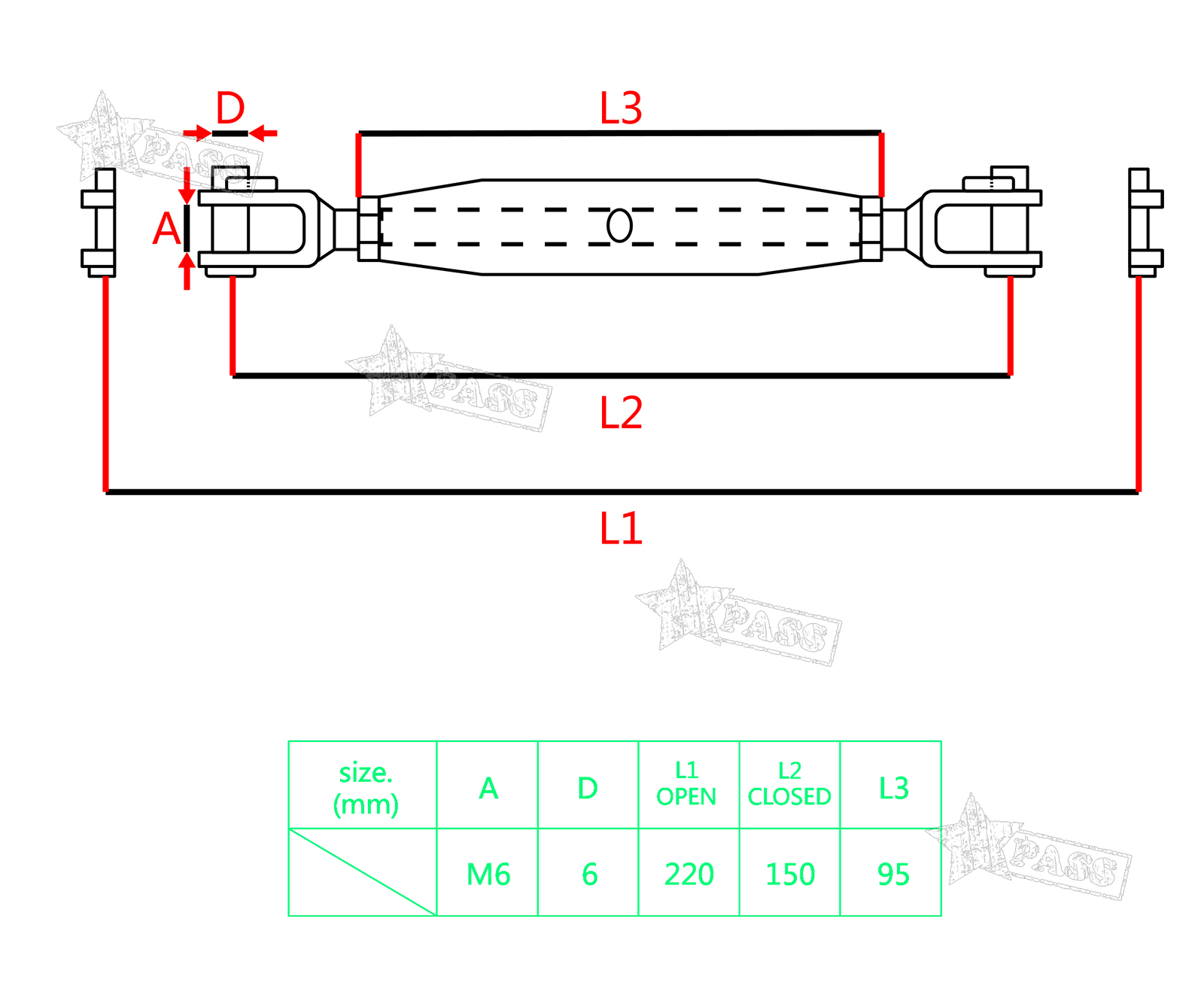 2 4x 6mm 316 Stainless Steel Jaw Closed Body Turnbuckle Wire 3 Prong 220v Wiring Diagram What Is X 4 Rope Tensioner