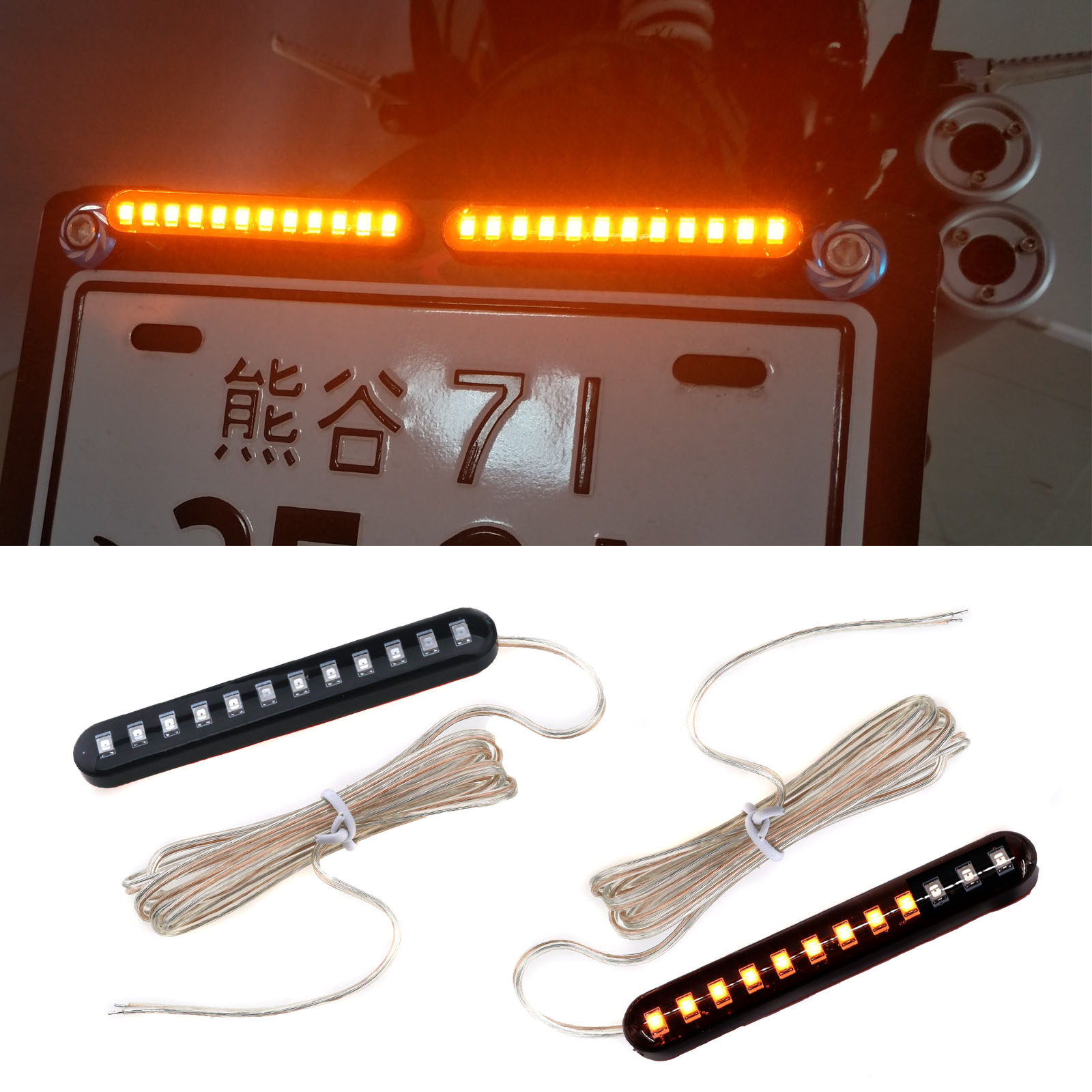 2PCS Sequential Flowing 12 LED Mini Strips Motorcycle Car Led Turn Signal Lights