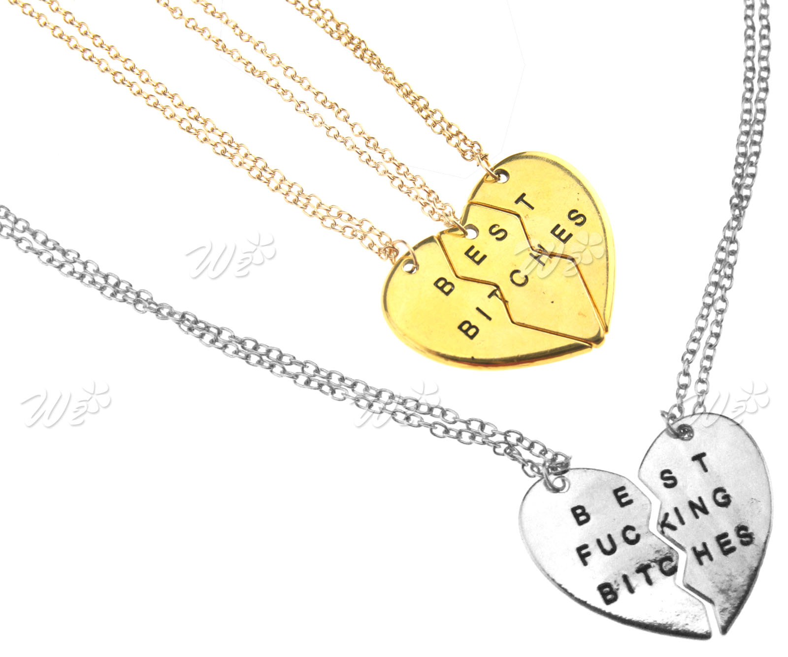 Combination Necklace 3/2 Parts Broken Heart Chain Necklace Gifts ...